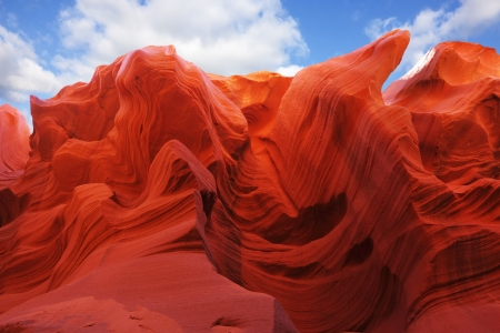 Magic play the red and orange colors in the famous Antelope Canyon in the Navajo Indian Reservation  U S  photo