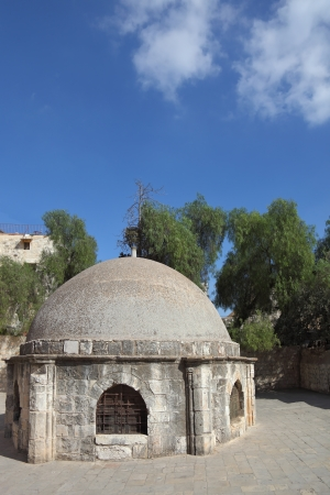 Low round building on the square in front of the Coptic Church of St  Helena photo