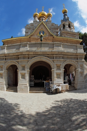 surmounted: The great city of Jerusalem. Orthodox church of St. Mary Magdalene. The magnificent church of the famous Jerusalem stone, surmounted by golden domes