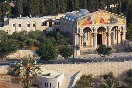 Mount of Olives in Jerusalem. The Church of all peoples, and centuries-old cypress road  photo