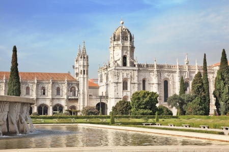 tagus: Gorgeous Portugal  Embankment of the River Tagus in Lisbon  A  huge monastery of St  Jerome Stock Photo