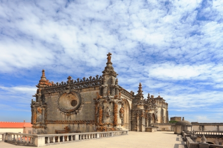 knights templar:  Palace of the Knights Templar in Tomar. Beautifully preserved and restored monument of medieval architecture. Portugal  Editorial