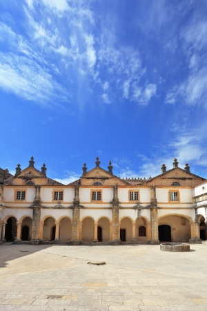 templars: Palace of the Knights Templar in the small town of Tomar, Portugal. Beautiful inner courtyard, surrounded by a fine building with a beautifully preserved architecture