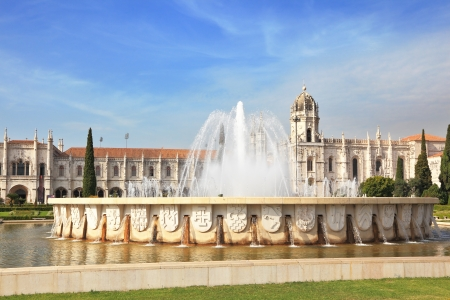 tagus: Gorgeous Portugal  Embankment of the River Tagus in Lisbon  A beautiful fountain and a huge monastery of St  Jerome