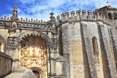 templars: The monument of medieval religious architecture. Well protected and beautifully decorated palace of the Templars in Tomar. Portugal