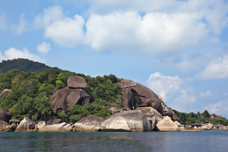 The picturesque shores of magical Similan Islands. Pile of huge rocks