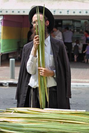 brak: Bnei Brak - September 22: Religious young red-bearded Jew in traditional dress chooses ritual plant Lula before Sukkot September 22, 2010 in Bnei Brak, Israel  Editorial