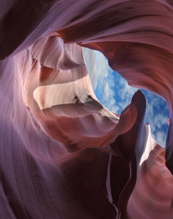 The Magic Antelope Canyon in the Navajo Reservation, the United States.Exit slot canyon. photo
