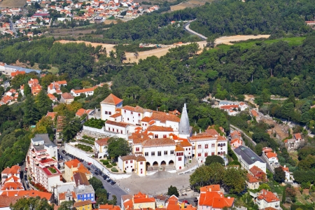 sintra: Magnificent resort of Sintra in vicinities of Lisbon, photographed from walls of a Mauritian fortress