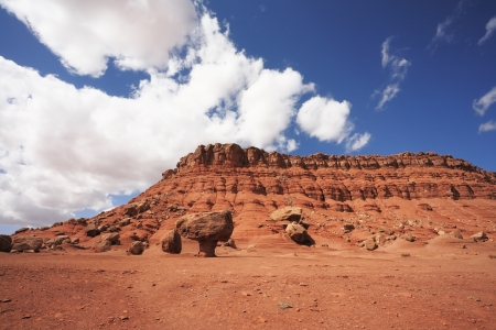 Magnificent American red desert. Huge mushroom from red sandstone. Mesa photo