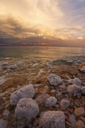 Spring thunder-storm, thunder and lightnings on the Dead Sea in Israel photo