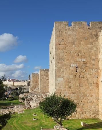 Walls of ancient Jerusalem. Serene autumn day, a sunset Stock Photo - 16441548