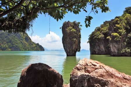 james bond's island: James Bonds magnificent island. Island-vase in greenish water of the southern sea. Thailand  Stock Photo