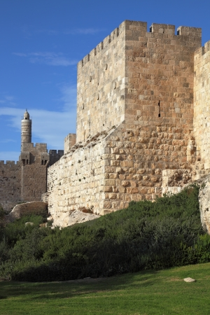 Grandiose walls of Jerusalem and the Tower of David Stock Photo - 16516516