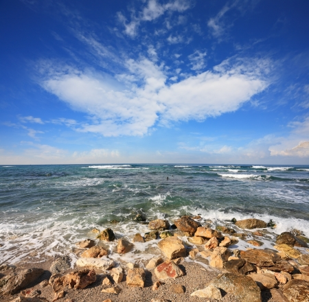 The Mediterranean coast  Incredible cloud in the form of phoenix Stock Photo - 16658984