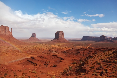 Rainbow in a red desert  Monument Valley after the rain photo