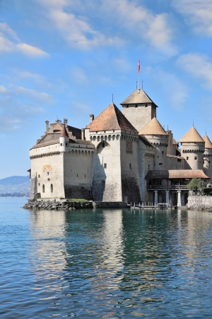 The world-famous Castle of Chillon on Lake Geneva. A beautiful sunny day in Switzerland
