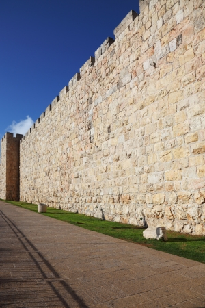 A lovely sunny day in Jerusalem  The walls  against the sky and clouds Stock Photo - 16901583
