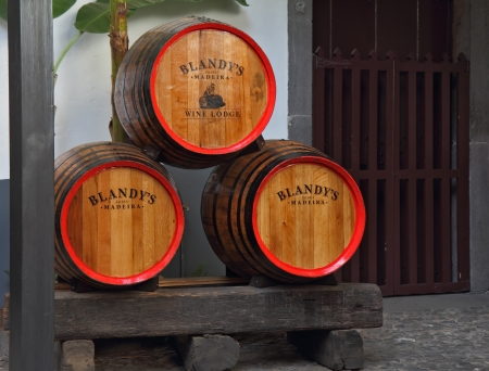 MADEIRA  ISLAND, PORTUGAL - OCTOBER 8  Classic huge oak barrels of wine  Madera  Storage of wine well-known firm