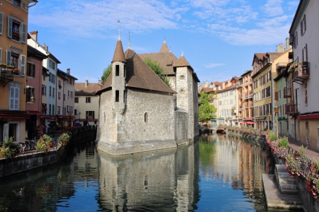 The picturesque medieval fortress-prison was turned into a museum  Located in the old French town of Annecy and the city is surrounded by water channels