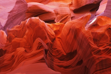 Fiery color in the stone. The famous Antelope Canyon in the Navajo Indian Reservation. USA photo