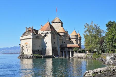 chillon: The Castle of Chillon on Lake Geneva. A beautiful sunny day in Switzerland