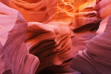 Magic play the red and orange colors in the famous Antelope Canyon in the Navajo Indian Reservation. U.S.