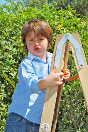 climbed: Very handsome boy with green eyes climbed the stepladder and do not want to go down Stock Photo