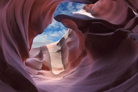 Exit slot canyon. The Magic Antelope Canyon in the Navajo Reservation, the United States. photo