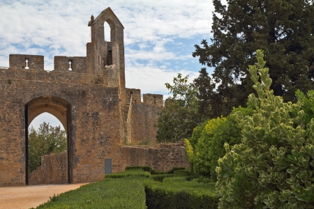 templars: The beautiful architecture of the castle Templars in Tomar  Magnificent medieval palace in Portugal