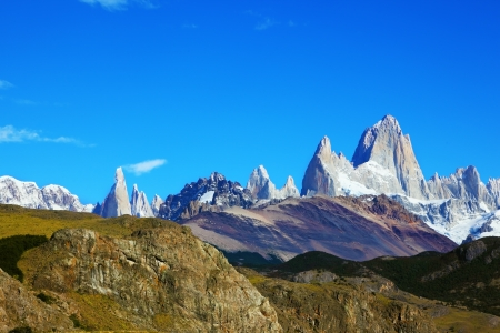 Argentine Patagonia. The famous rocky mountain Fitzroy against the blue sky photo