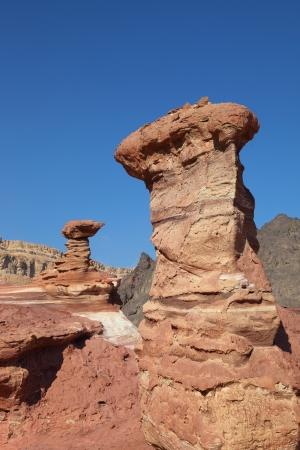 hoodoos: Interesting natural forms of sandstone hoodoos in mountains of Eilat, Israel