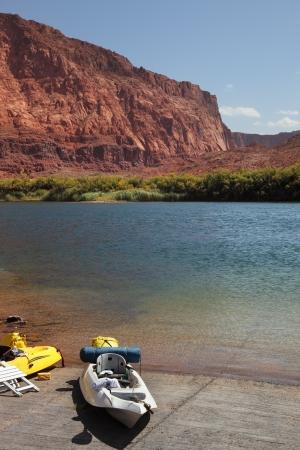 shores: Canoe on the shores of the Colorado River. Stock Photo