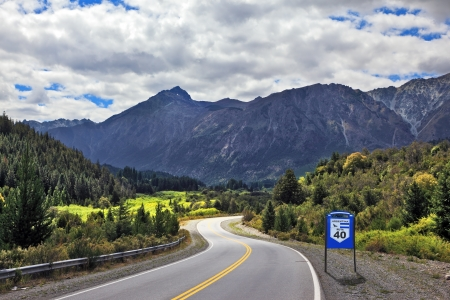 Patagonia, southern Argentina. The famous Route 40 paved road parallel to the Andes Фото со стока