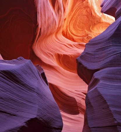 Glowing colorful corridor  Famous slot Antelope canyon  in the Navajo reservation  USA Stock Photo - 24087429