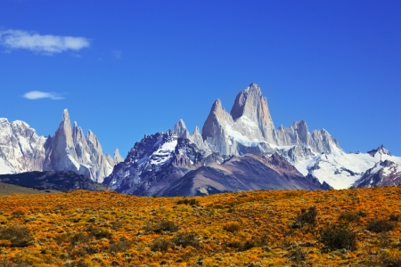 fitzroy: The magnificent mountain range - Mount Fitzroy in Patagonia, Argentina. Summer sunny noon