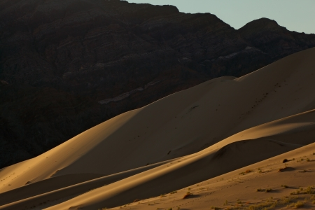 sandhills: Gentle morning shadows magnificent sand dunes of Eureka Stock Photo