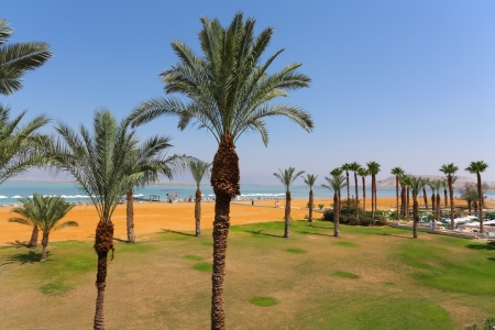 Palm Beach luxury hotel at the Dead Sea in Israel  Sunny spring day