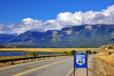 Patagonia. The longest road in Argentina Ruta 40 is laid parallel to the Andes of picturesque lakes and fields photo