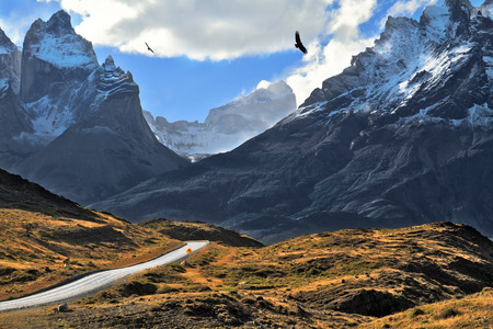 grandiose: Grandiose landscape in the Chilean Andes. The road between turned yellow hills goes to snow-covered black rocks