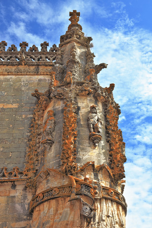 knights templar: The medieval castle of the Knights Templar in the Portuguese town of Tomar  Superbly preserved decor corner columns Stock Photo