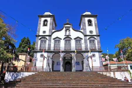 madeira: Sights of the Portuguese island of Madeira  Magnificent white church of Nossa-Senior-du-Monty  To the building the long picturesque ladder conducts Stock Photo