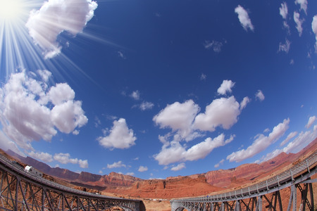 The famous double Navajo Bridge over the River Colorado separately for transport and for pedestrians