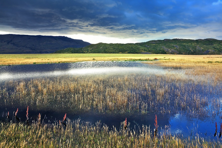 The valley is surrounded by mountains in the park Torres del Paine, Chile. Shallow lake, overgrown with reeds, reflects the blue sky. The sky is partially covered with low thunderclouds.   photo