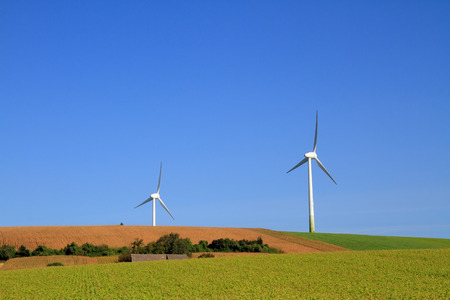 windless: Modern windmills on windless day. Green field and blue sky