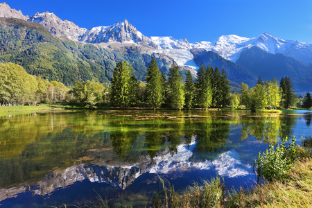 blue mountains: Snowy mountains and evergreen spruce reflected in the lake. City park in the mountain resort of Chamonix in France