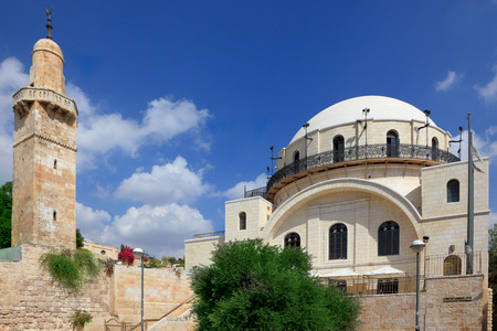 hurva: Famous restored Hurva Synagogue and Muslim minaret. Jerusalem, Israel