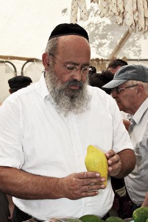 etrog: JERUSALEM, ISRAEL - SEPTEMBER 18, 2013: Religious man - Jew with black beard and black skullcap chooses ritual citrus - etrog
