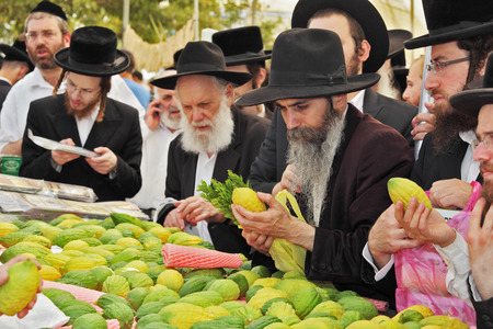 brak: BNEI- BRAK, ISRAEL - SEPTEMBER 17, 2013: Counter with Citron. Traditional market before the holiday of Sukkot. Religious Jews in black hats and skullcaps carefully selected ritual fruits   Editorial