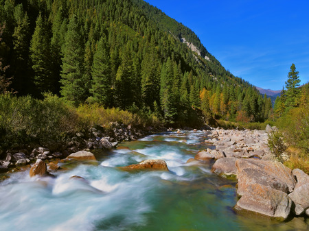 tauern: Stormy and frothy mountain stream. Cascades of cold water at the source of the famous Krimml waterfalls. Pastoral in the Alpine mountain valley in Austria